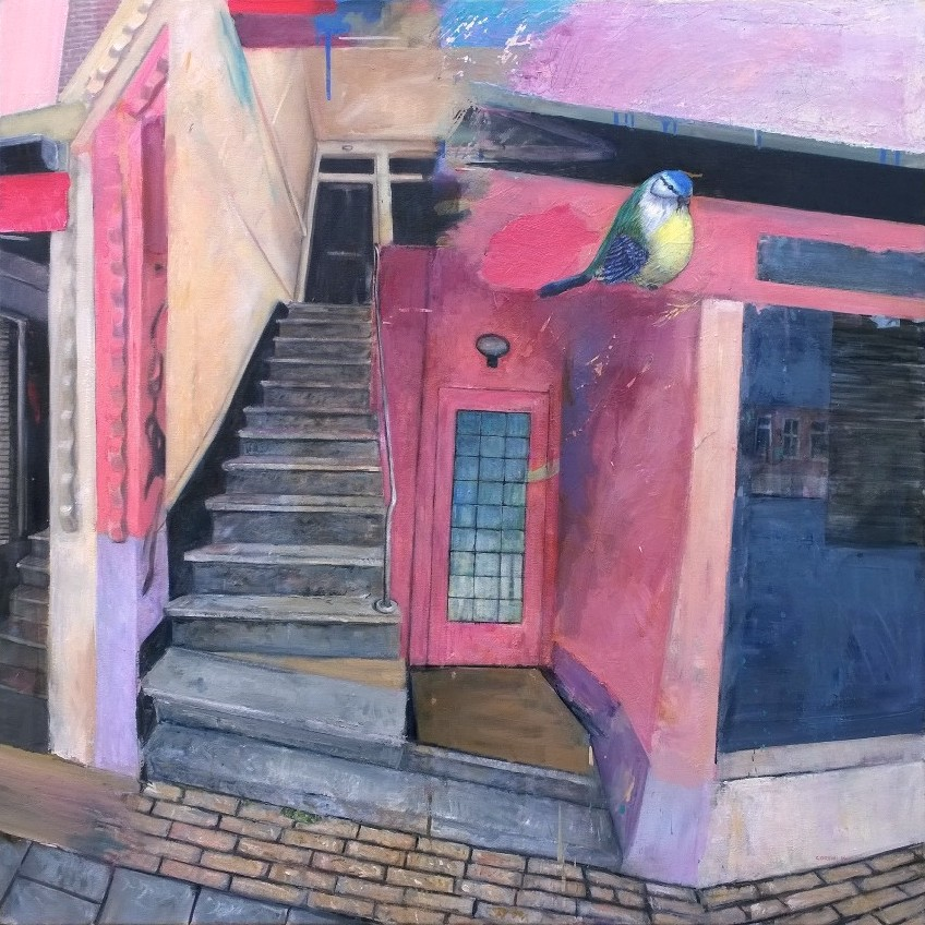 Marco Corsini, Kinkerstraat, 2006-14, Oil on canvas,100 cm. x 100 cm.