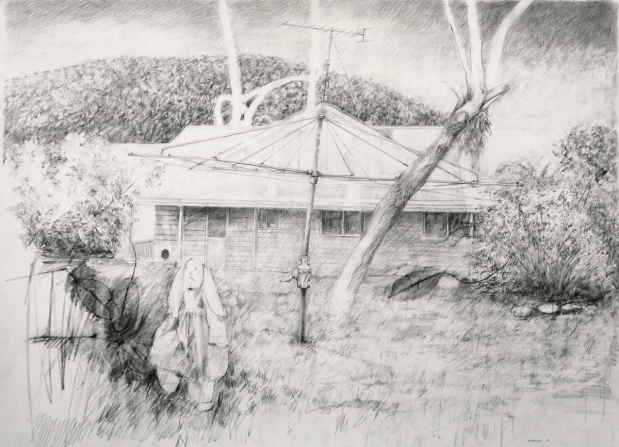 He doesn't want play today, 2013, pencil on paper, 57 cm. x 76 cm.