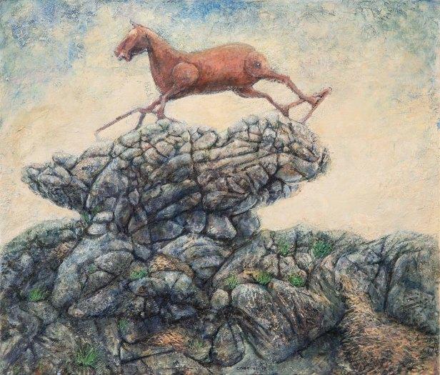 Marco Corsini, Leap of faith, oil on linen 60 cm x 70 cm, 2017