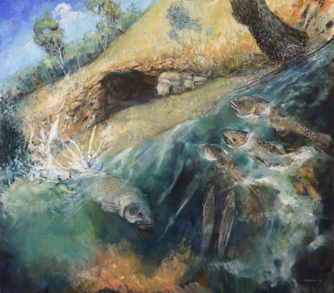 The fish mock the cave (from the cave series), oil on linen, 80 cm. x 70 cm., 2019